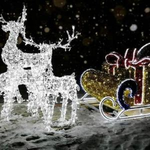 Скульптура из проволоки: Новогодние олени и сани, с подсветкой