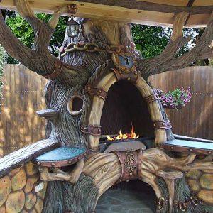 Бетонный мангал Сказочный дуб