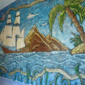 Барельеф из бетона Морской пейзаж