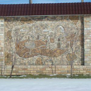 Барельеф из бетона Вид на город