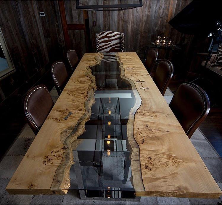 Деревянная мебель: Конференц-стол с прозрачной вставкой
