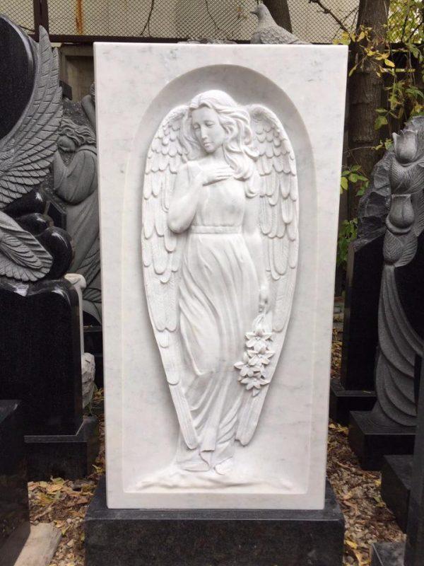 Барельеф в мраморе: Силуэт девушки-ангела