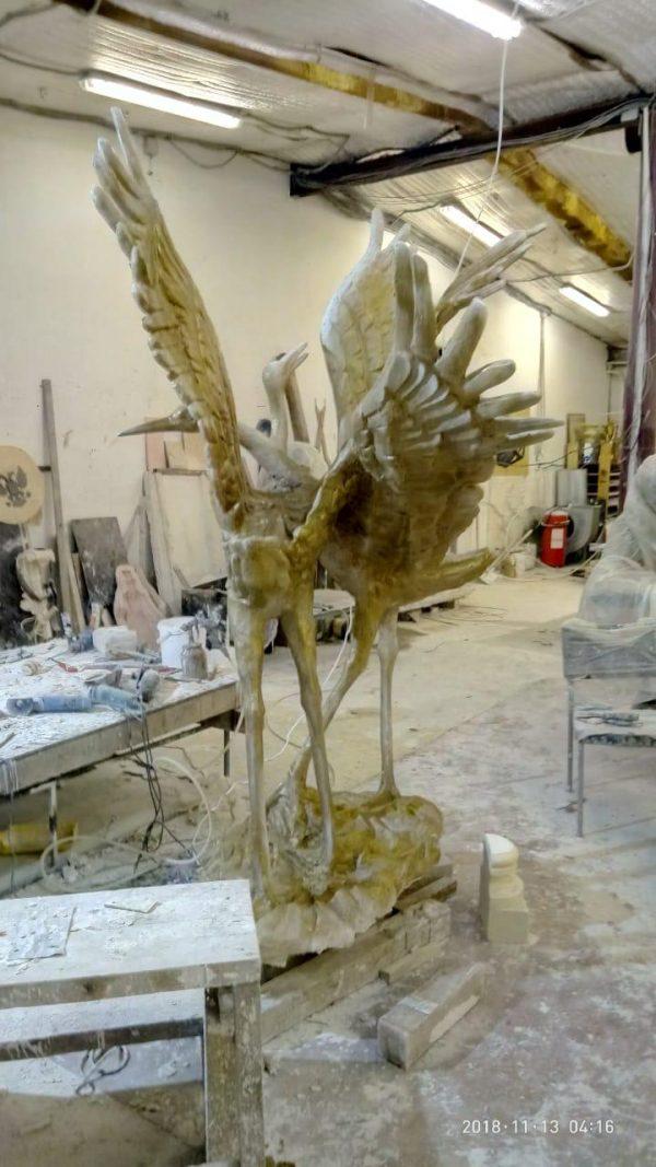 Скульптура из пенопласта и стеклопластика: Танцующие журавли