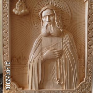 Икона из дерева: батюшка Серафим Саровский