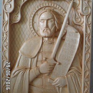 Икона из дерева: лик святого ручной работы