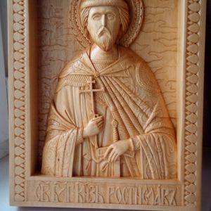 Икона из дерева: святой князь Ростислав