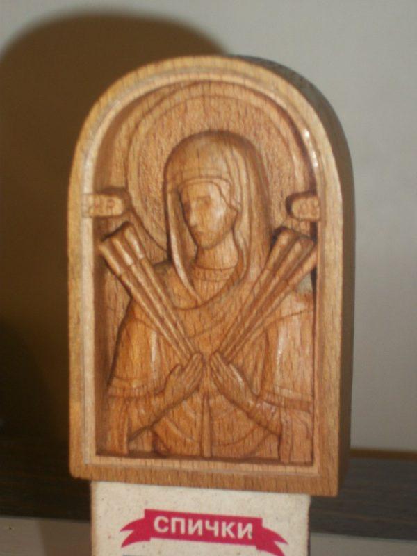Икона из дерева: миниатюра Божья Матерь Семистрельная
