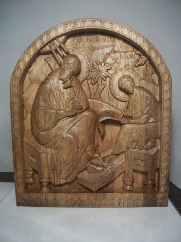Икона из дерева: Иоанн Богослов и святой Прохор