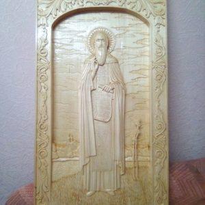 Икона из дерева: Сергий Радонежский