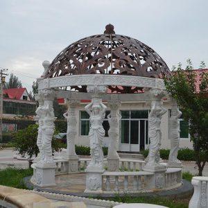 Беседка из мрамора: Мраморная беседка с резным куполом
