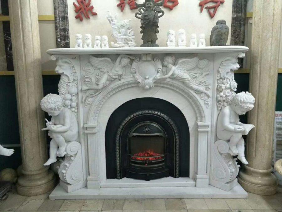 Скульптура из мрамора: Каминный портал из мрамора белого цвета-10