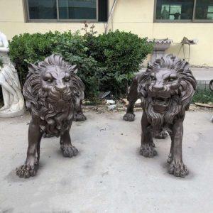 Статуя из бронзы: Комплект из двух львов