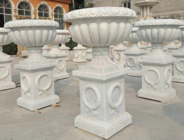 Скульптура из мрамора: Мраморные горшки для сада-03