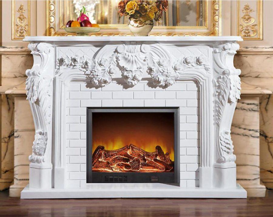 Скульптура из мрамора: Каминный портал из белого мрамора-07