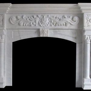 Скульптура из мрамора: Каминный портал из белого мрамора-05