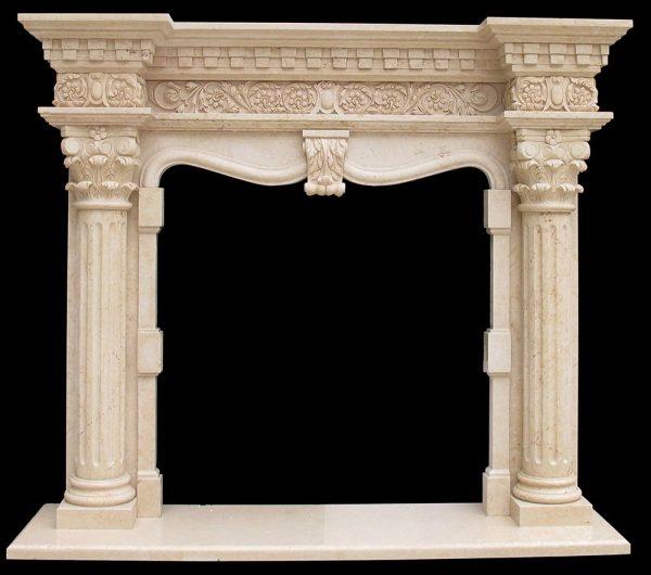 Скульптура из мрамора: Каминный портал из мрамора светло-коричневого мрамора