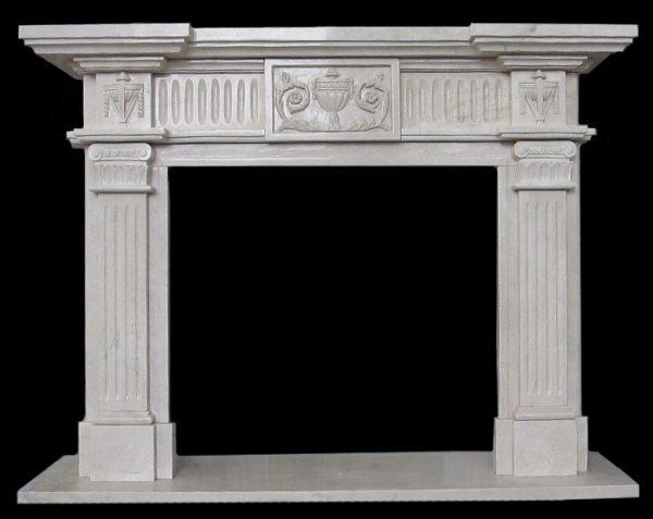 Скульптура из мрамора: Каминный портал из серого мрамора-03