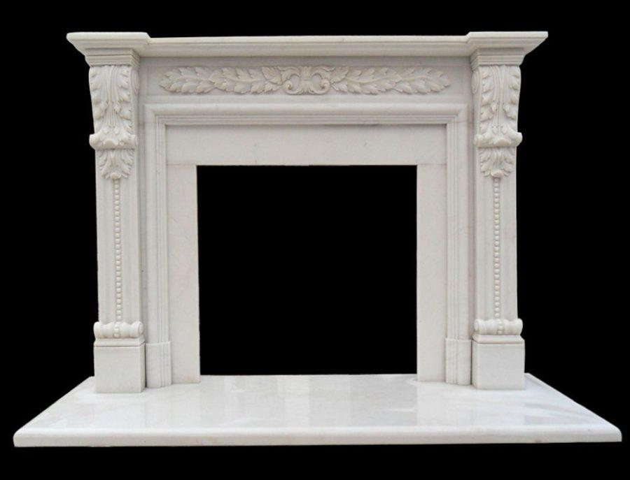 Скульптура из мрамора: Каминный портал из мрамора белого цвета-09