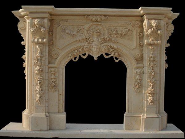 Скульптура из мрамора: Каминный портал из серого мрамора-04