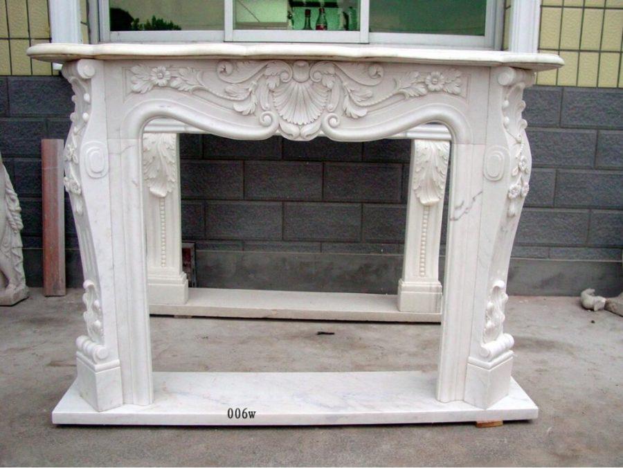 Скульптура из мрамора: Каминный портал из мрамора белого цвета-11