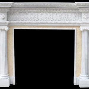 Скульптура из мрамора: Каминный портал из мрамора белого и молочного оттенков