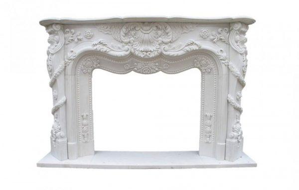 Скульптура из мрамора: Каминный портал из белого мрамора-01