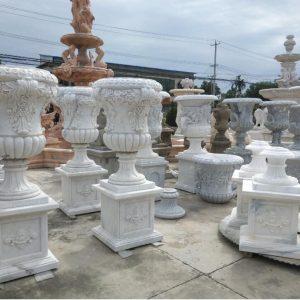 Скульптура из мрамора: Мраморные горшки для сада-04