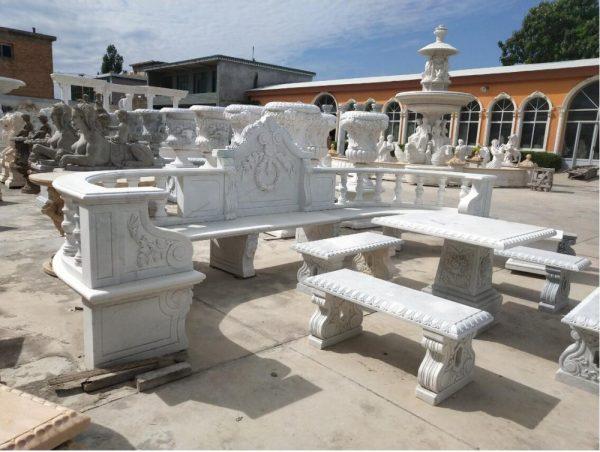 Скульптура из мрамора: Длинная скамья для сада из белого мрамора