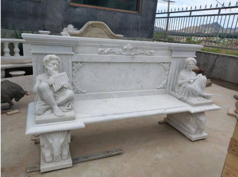 Скульптура из мрамора: Скамейка для сада из белого мрамора-01