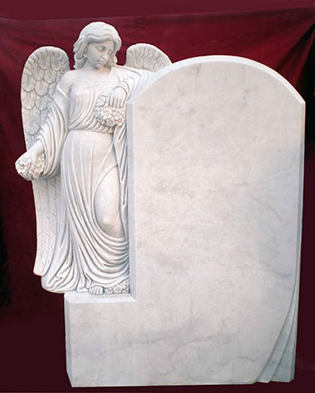 Надгробия и фигуры из белого мрамора