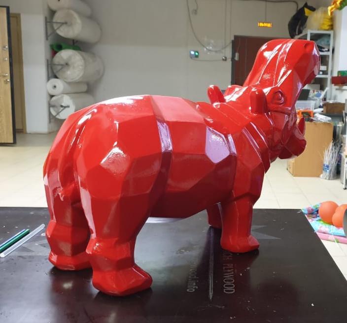 Скульптура из стеклопластика: Скульптура бегемота. Полигональный бегемот.