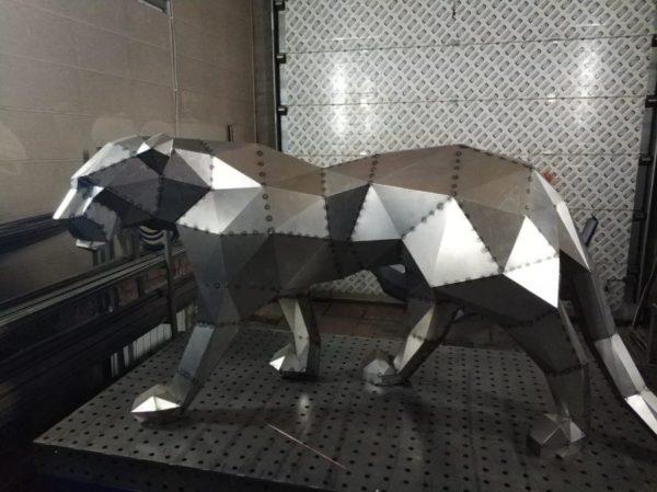 Скульптура: Пантера из нержавеющей стали без покраски