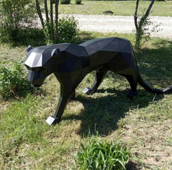 Скульптура: Пантера из стали с покраской. Полигональная скульптура