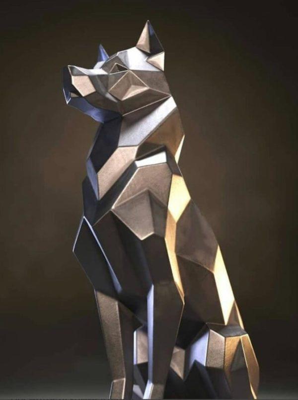 Скульптура: Полигональный пёс из нержавеющей стали