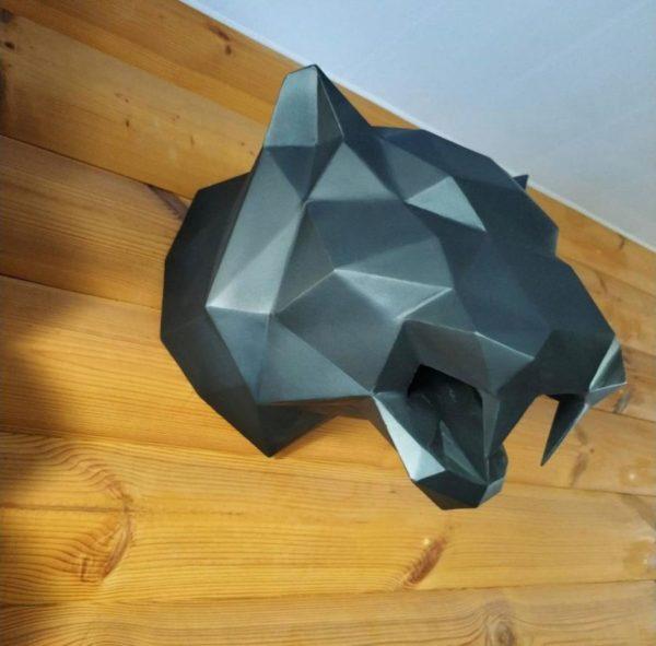 Скульптура: Голова тигра из стали с покраской