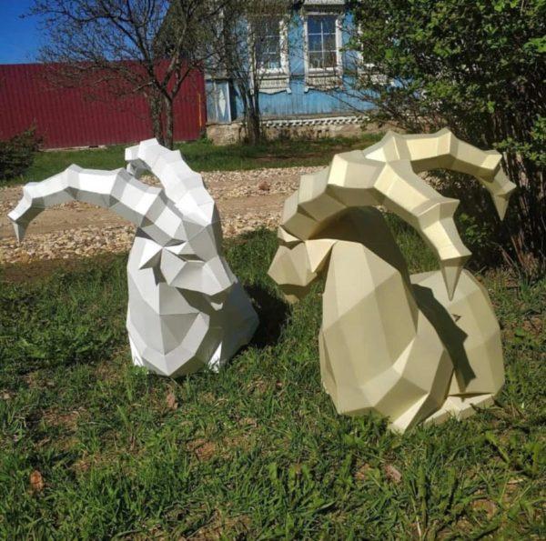 Скульптура: Горные козлы из нержавеющей стали с покраской