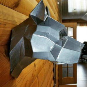 Скульптура: Голова пса из нержавеющей стали без покраски