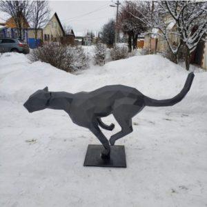 Скульптура: Гепард из стали с покраской