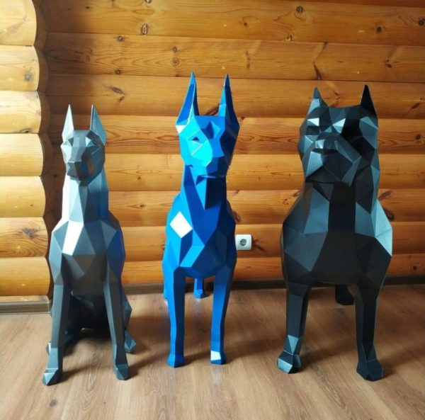 Скульптура: Полигональные металлические животные