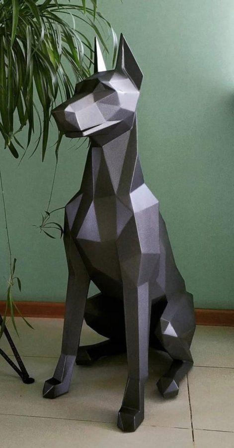 Скульптура: Собака из стали с покраской